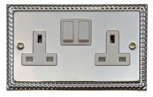 G&H MC10W Monarch Roped Polished Chrome 2 Gang Double 13A Switched Plug Socket